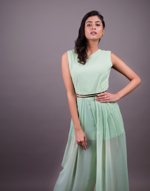 Mint green set in a grey backdrop in a studio set up