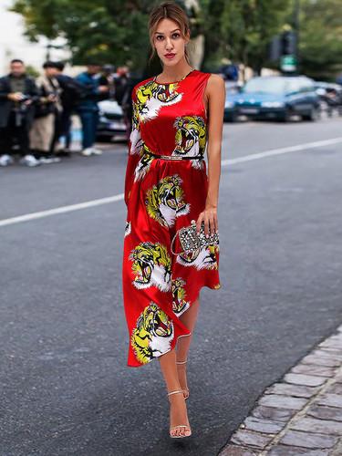 f92e5e0fba Single Shoulder Tiger Printed Irregular Hem Maxi Dress