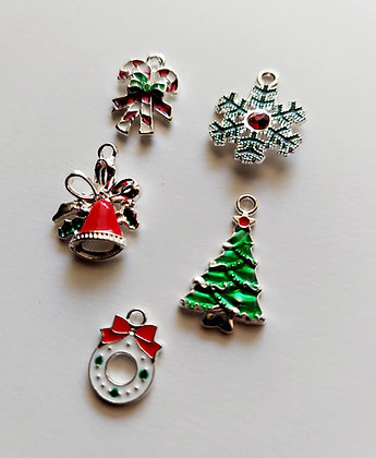 Assorted Silver Plated Christmas Charms
