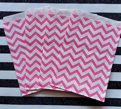 Pink & White Chevron Bags