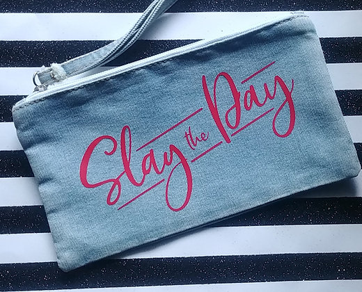 Slay the Day Denim Cosmetic Bag