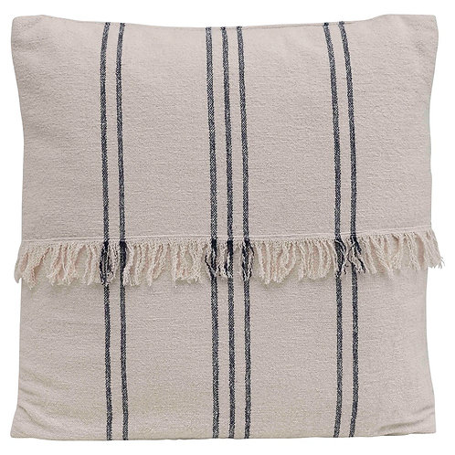 Woven Cotton Striped Pillow w/Fringe