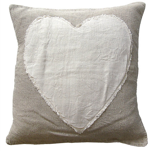 "HEART STITCHED (WHITE STITCH) PILLOW - 24""X24"""