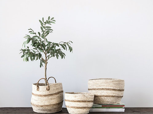 Set of 3 Round Maize Baskets