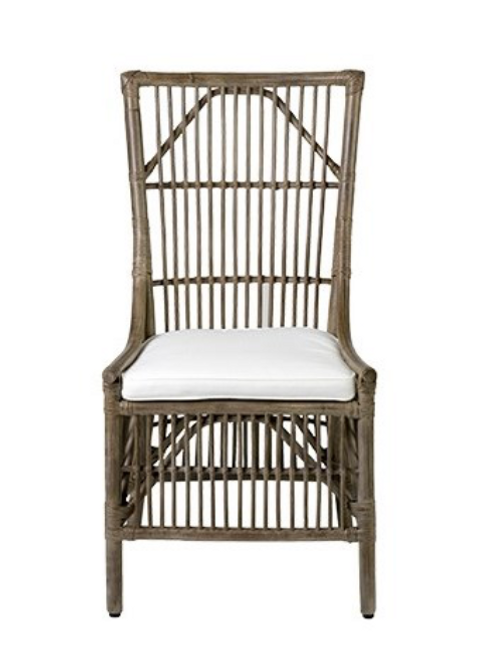 Rattan Dining Side Chair-Vintage Grey