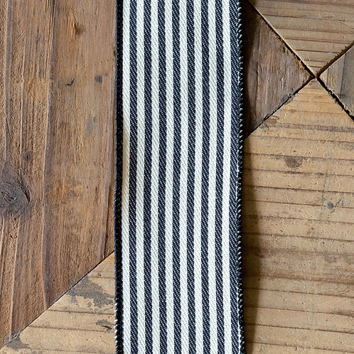 Canvas Stripe Black/Cream Ribbon