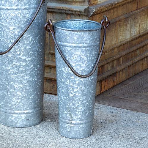"Tall 14"" Galvanized Metal Bucket"