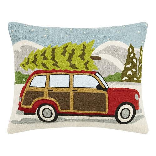 Wagon With Christmas Tree Crewel Embroidered Pillow