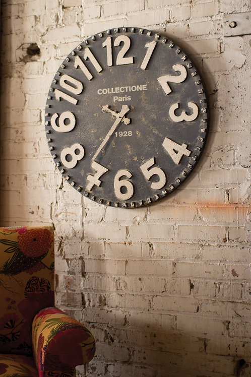 Black and White Wooden Clock