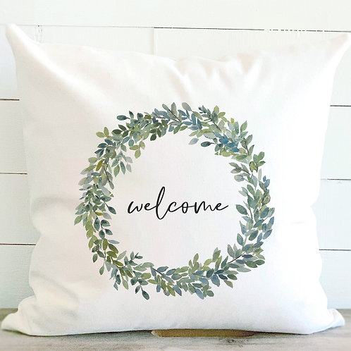 Welcome Boxwood Wreath - Cotton Canvas Pillow