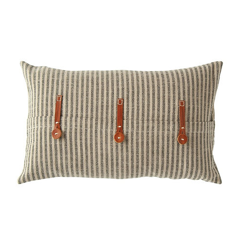 Cotton Ticking Striper Pillow w/Leather Trim