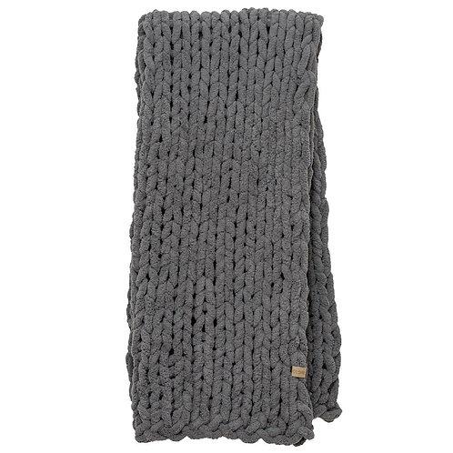 Chunky Knit Blanket-Slate