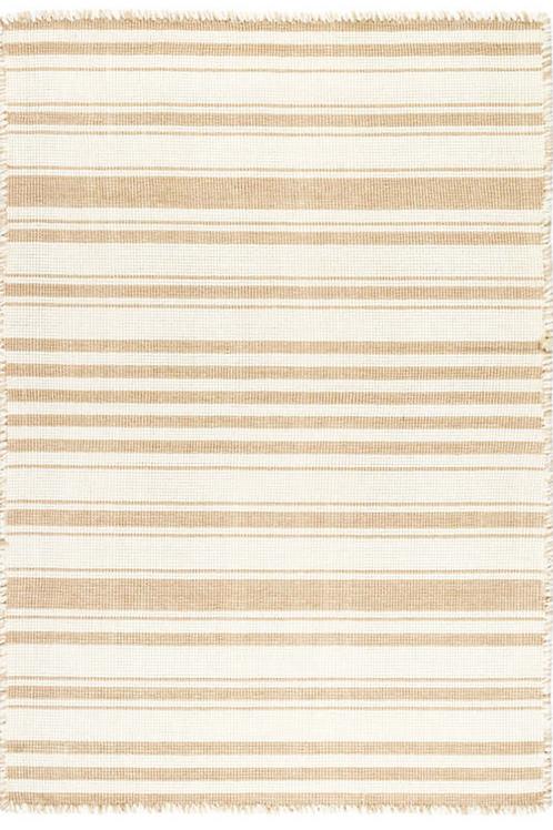 Striped Woven Cotton Rug-Wheat