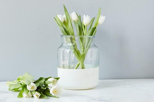 White Colorblock Mason Jar-Small