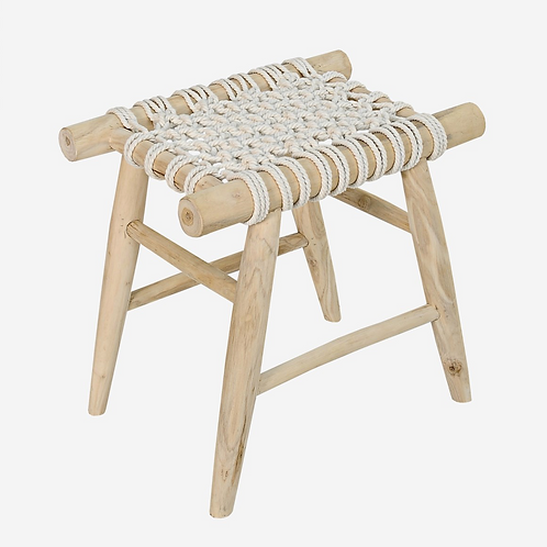Teak Stool with Woven Seat