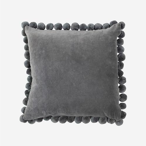 Grey Velvet Pom Pom Pillow