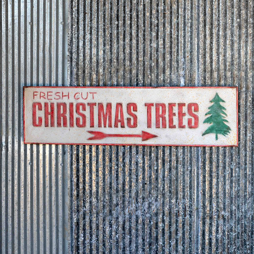 Aged Metal Christmas Tree Sign