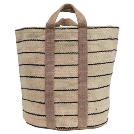 Jute Striped Bag w/Handles