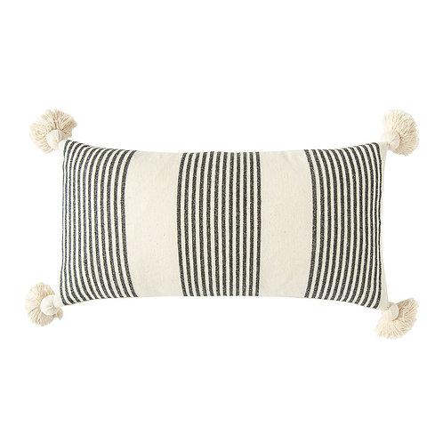 Cotton & Chenille Woven Striped Lumbar Pillow