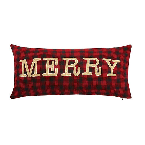 Merry Embroidered Applique Pillow, Red