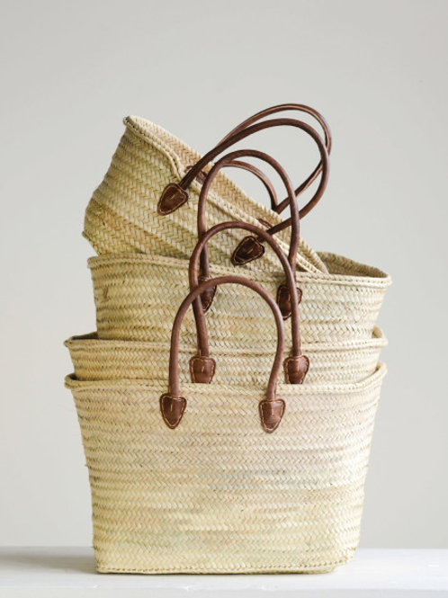 Set of 4 Handwoven Moroccan Baskets with leather handles