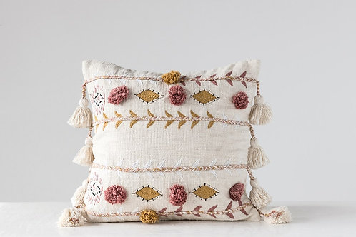 Square Cotton Embroidered Pillow with Tassels