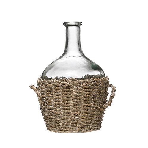 Small Glass Bottle in WovenSeagrass Basket w/Handle