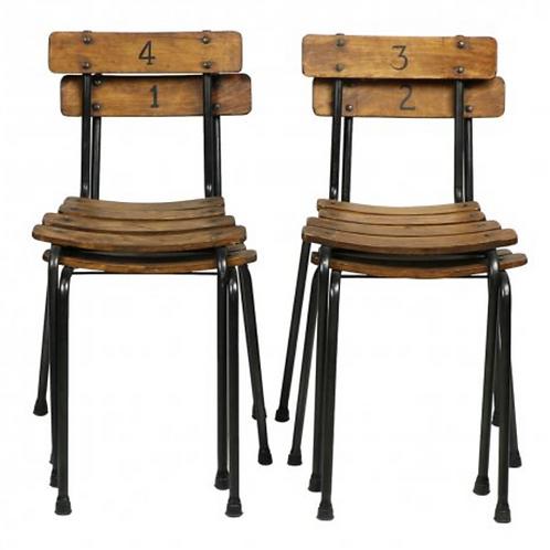 Set of 4 Public School Chairs