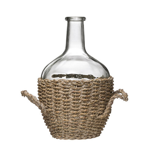 Large Glass Bottle in Woven Seagrass Basket w/Handles