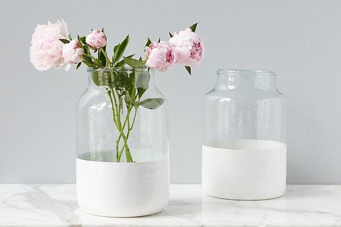 White Colorblock Mason Jar-Medium