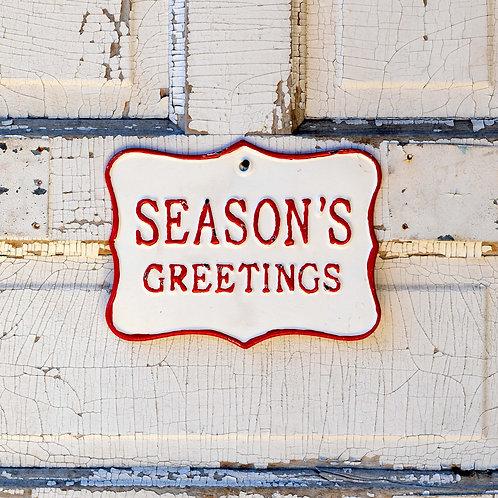 Metal Season's Greetings Sign