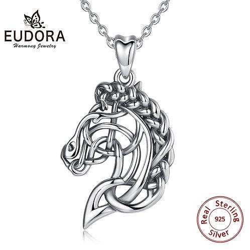 Eudora 925 Sterling Silver Horse Necklace Pendant Celtics Knot Spirit Horse Head