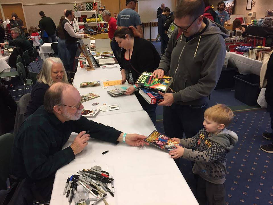 Photo: Ithacon 44 held at Ithaca College featured special guests Louise (Weezy) Simonson and Walt Simonson - shown here interacting with young and young at heart readers.