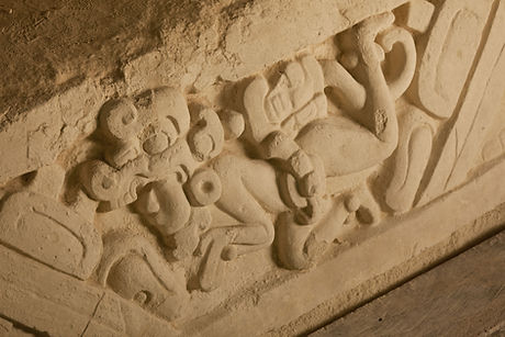 Twin brothers stucco frieze at El Mirador Archaeological Site