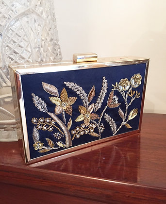 NAVY DUCHESS CLUTCH