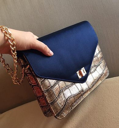 NAVY AND GILT CLUTCH