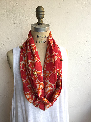 PRINTED IN RED INFINITY SCARF