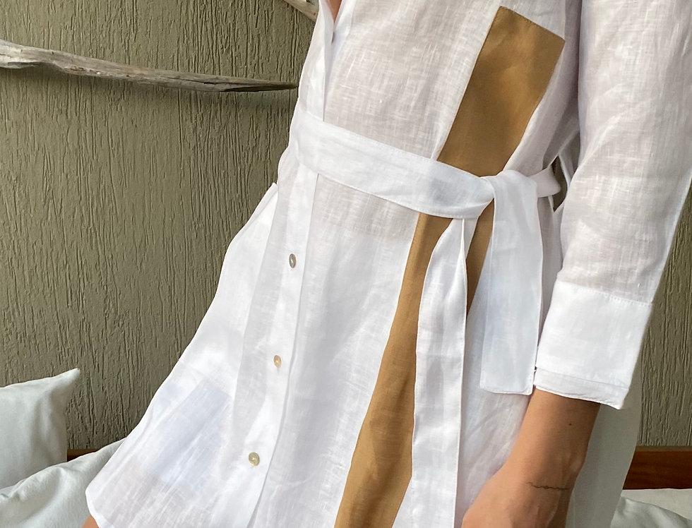 Camisa Gesto Off White Lino 100%