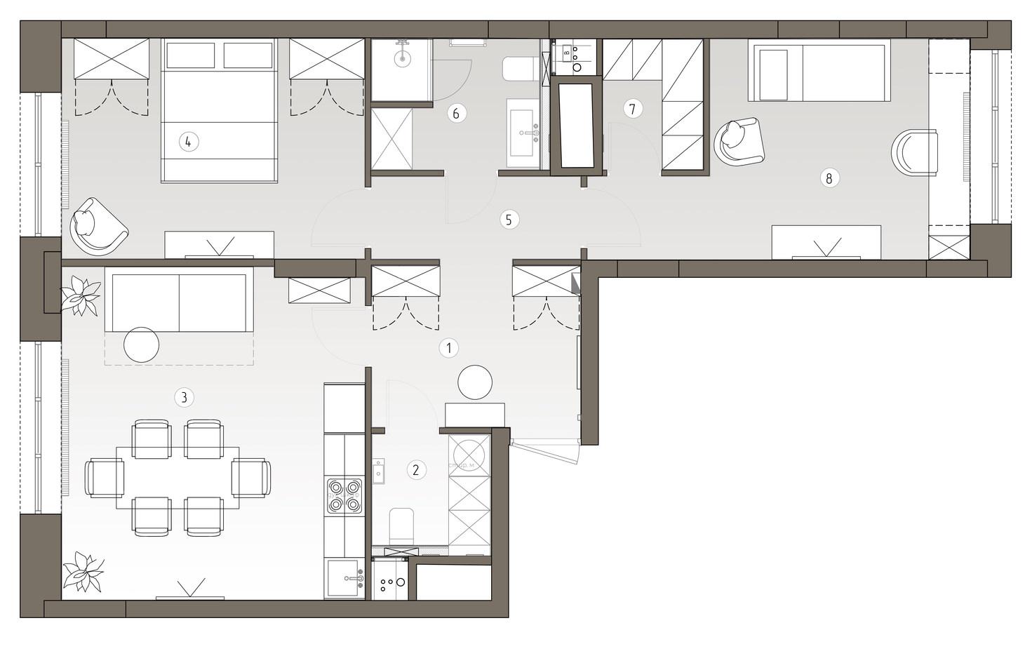 13 02 2020Квартира 1-План с мебелью 1 эт