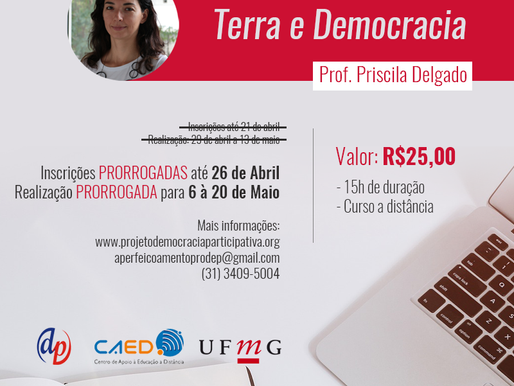 """Inscrições para o curso """"Terra e Democracia"""" estão prorrogadas até o próximo dia 26"""