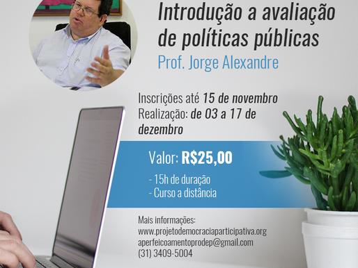 Inscrições abertas: Curso de Atualização em Introdução à Avaliação de Políticas Públicas