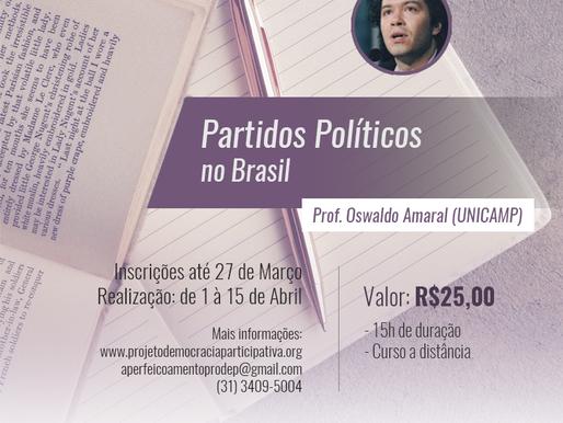 """Inscrições para o curso """"Partidos Políticos no Brasil"""" estão abertas até o próximo dia 27"""