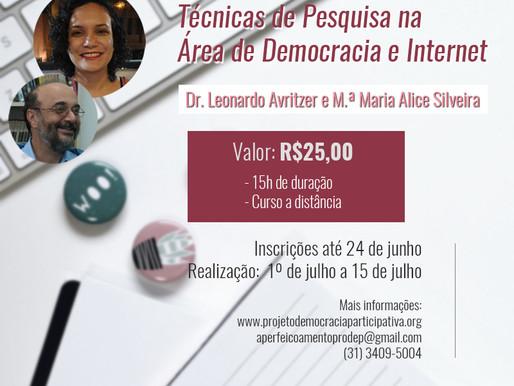 """Inscrições para o curso """"Téc. de Pesq. na Área de Democracia e Internet"""" estão abertas até dia 24/6"""