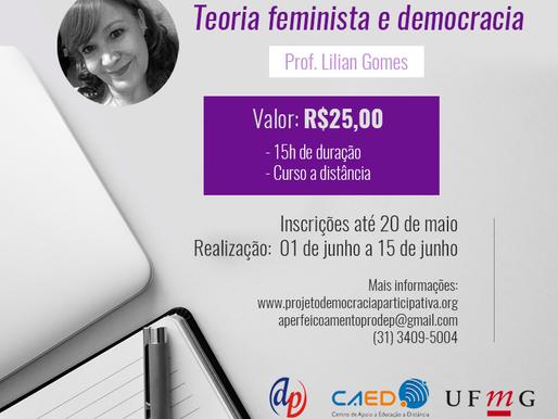 """Inscrições para o curso """"Teoria Feminista e Democracia"""" estão abertas até o próximo dia 20"""