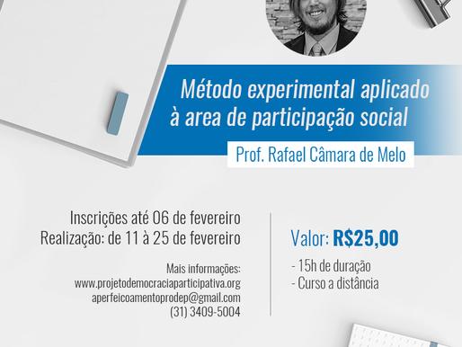 """Inscrições abertas para o curso """"Método experimental aplicado à área de Participação social"""""""