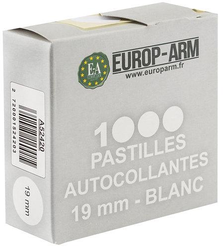 Pastilles autocollantes blanches 19 mm