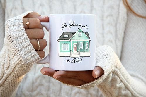 Homeowner Mug - Est. Date w/ Last Name (Teal)