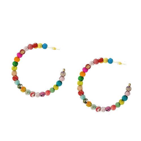 Large Kantha Hoop Earrings