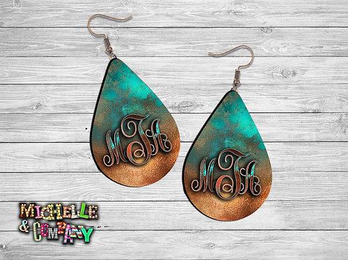 Monogram Earrings - Copper Patina