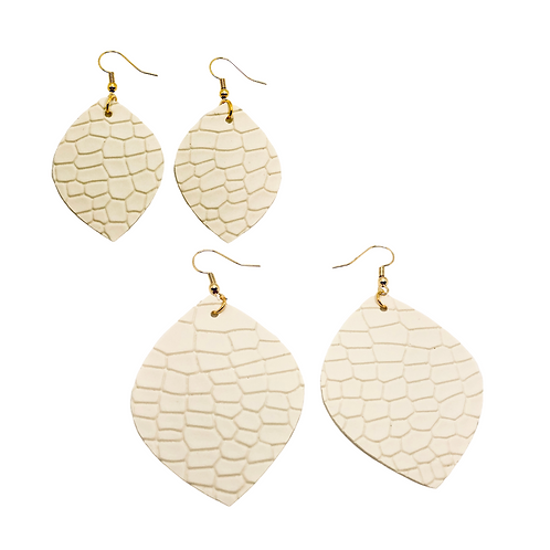 Embossed White Faux Leather Earring Set